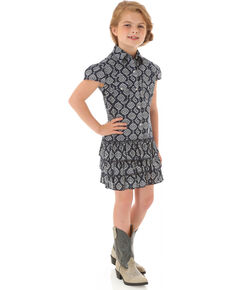 Wrangler Girls' Bandana Print Ruffled Shirt Dress, Blue, hi-res