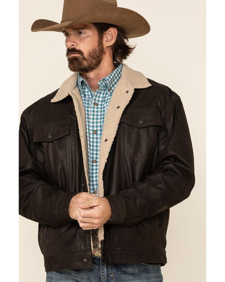 Cripple Creek Men's Brown Leather Sherpa Lined Jacket , Brown, hi-res