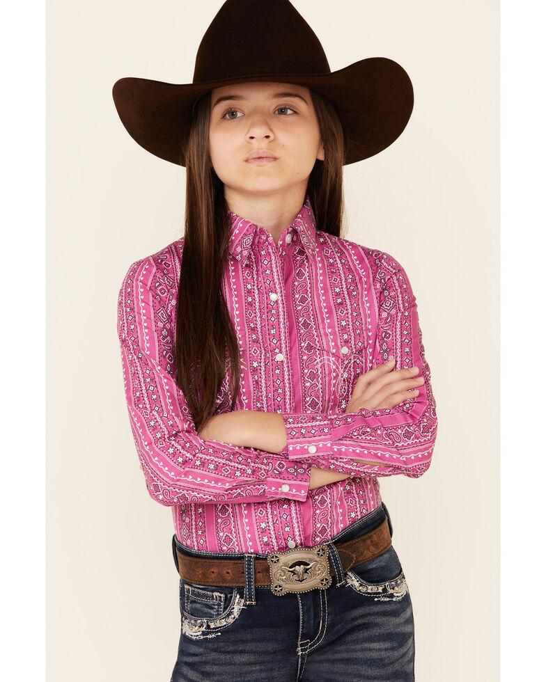 Panhandle Girls' Fushisa Floral Wallpaper Print Long Sleeve Snap Western Shirt , Fuscia, hi-res