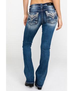 Miss Me Women's V-Pattern Embroidered Pocket Boot Jeans , Dark Blue, hi-res