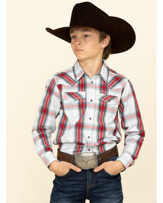 Cody James Boys' Rough Talk Plaid Long Sleeve Western Shirt , Red, hi-res