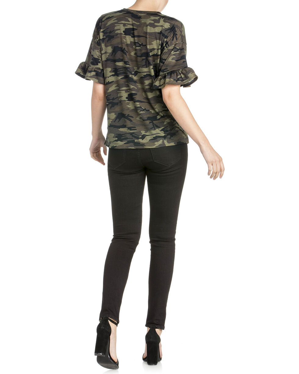 Miss Me Women's Green Camo Ruffle Sleeve Top , Camouflage, hi-res