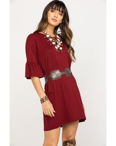 Stetson Women's Wine Ruffle Sleeve T-Shirt Dress, Wine, hi-res