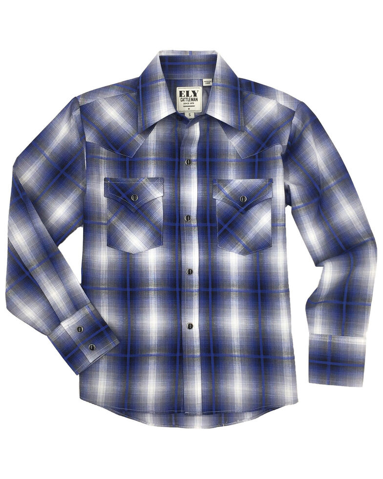 Ely Cattleman Boys' Navy Plaid Long Sleeve Western Shirt , Navy, hi-res