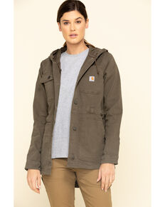 Crahartt Women's Tarmac Rugged Flex Canvas Coat, Brown, hi-res