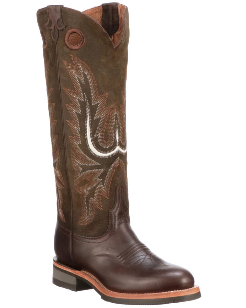 Lucchese Women's Ruth Tall Western Boots - Round Toe, Chocolate, hi-res