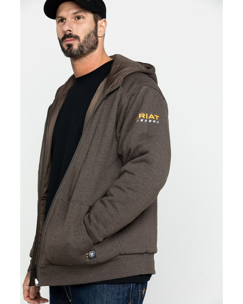 Ariat Men's Rebar Cold Weather Reversible Work Hoodie , Bark, hi-res