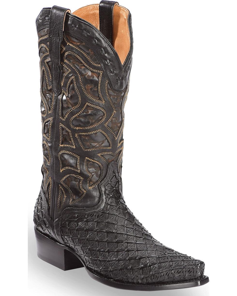 El Dorado Men's Handmade Basket Weave Black Cowboy Boots – Snip Toe , , hi-res