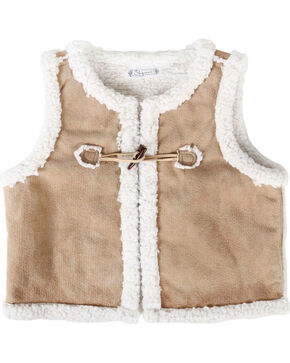 Shyanne® Girls' Sherpa Vest, Brown, hi-res