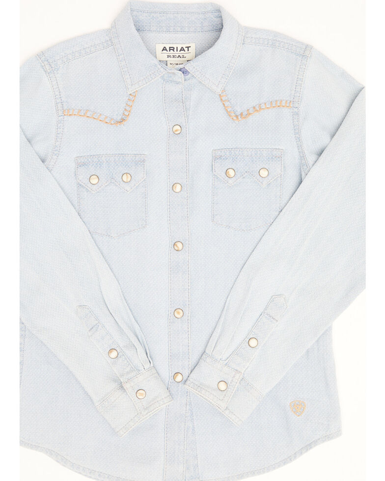Ariat Girls' R.E.A.L Kind Diamond Chambray Print Long Sleeve Western Core Shirt , Blue, hi-res
