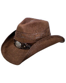 Peter Grimm Men's Shane Straw Cowboy Hat, Brown, hi-res