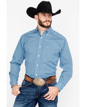 Ariat Men's Adderson Stretch Print Long Sleeve Shirt, Blue, hi-res