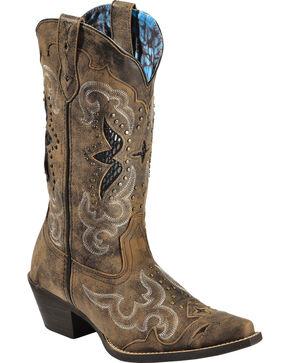 Laredo Women's Snake Underlay Western Boots, Brown, hi-res