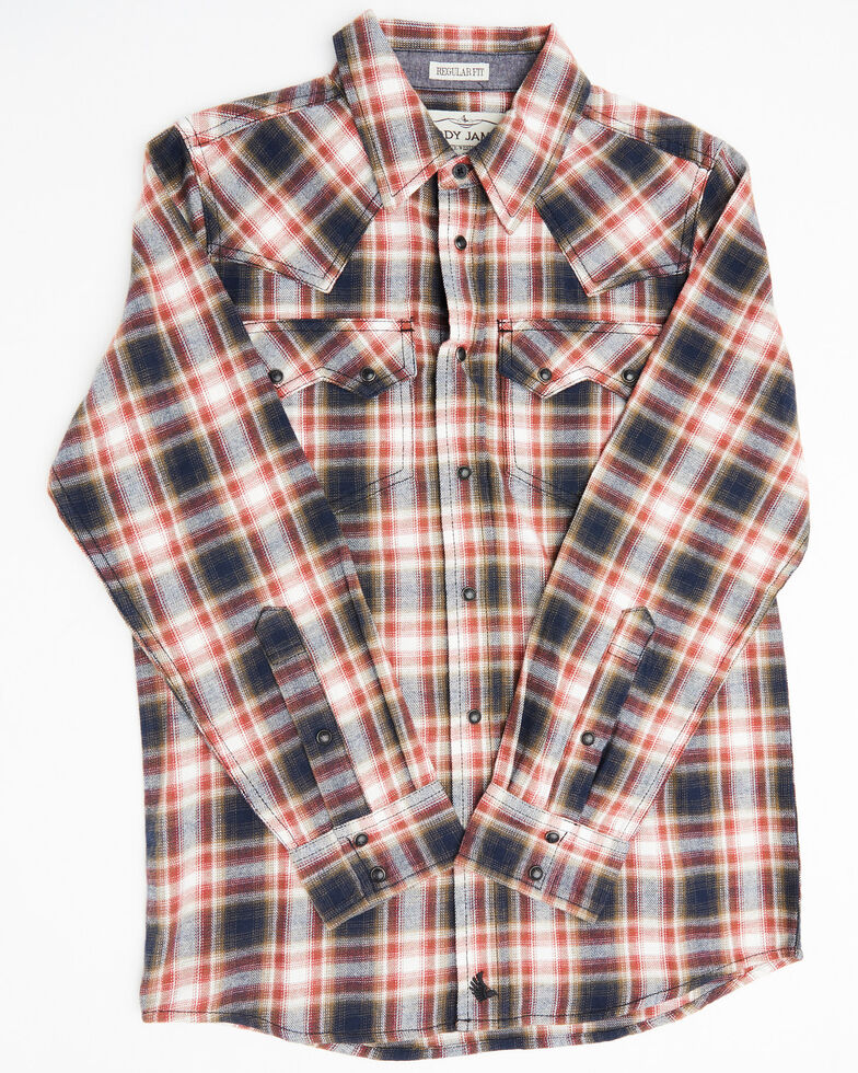 Cody James Boys' Spruce Plaid Long Sleeve Western Flannel Shirt , Black/red, hi-res