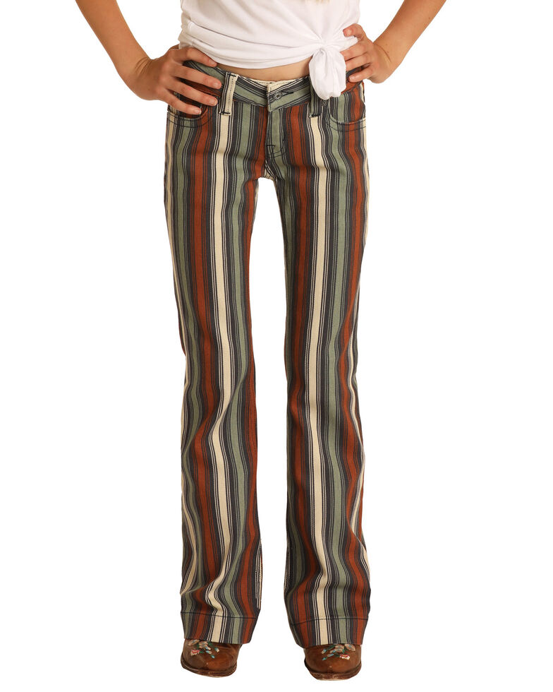 Rock & Roll Denim Girls' Multi Striped Stretch Trouser Jeans, Multi, hi-res