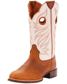 Ariat Women's Round Up Full-Grain Leather Western Boots - Round Toe, Tan, hi-res