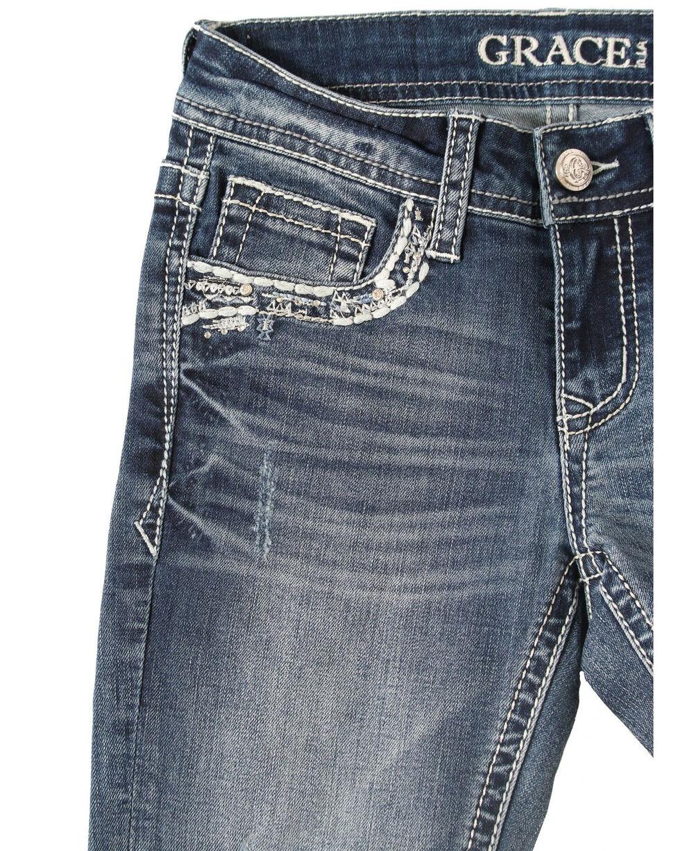 Grace in LA Girls' Medium Wash Aztec Pocket Bootcut Jeans, Blue, hi-res