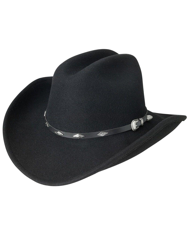 Silverado Mens Fancy Wool Felt Cowboy Hat Black 7 1//2