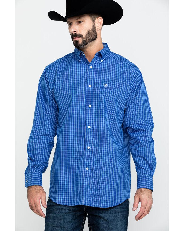 Ariat Men's Wrinkle Free Zilas Plaid Long Sleeve Western Shirt , Blue, hi-res