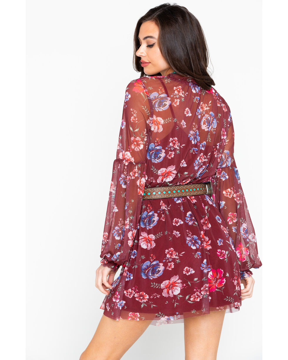 Eyeshadow Women's Floral Sheer Long Sleeve Dress , Burgundy, hi-res