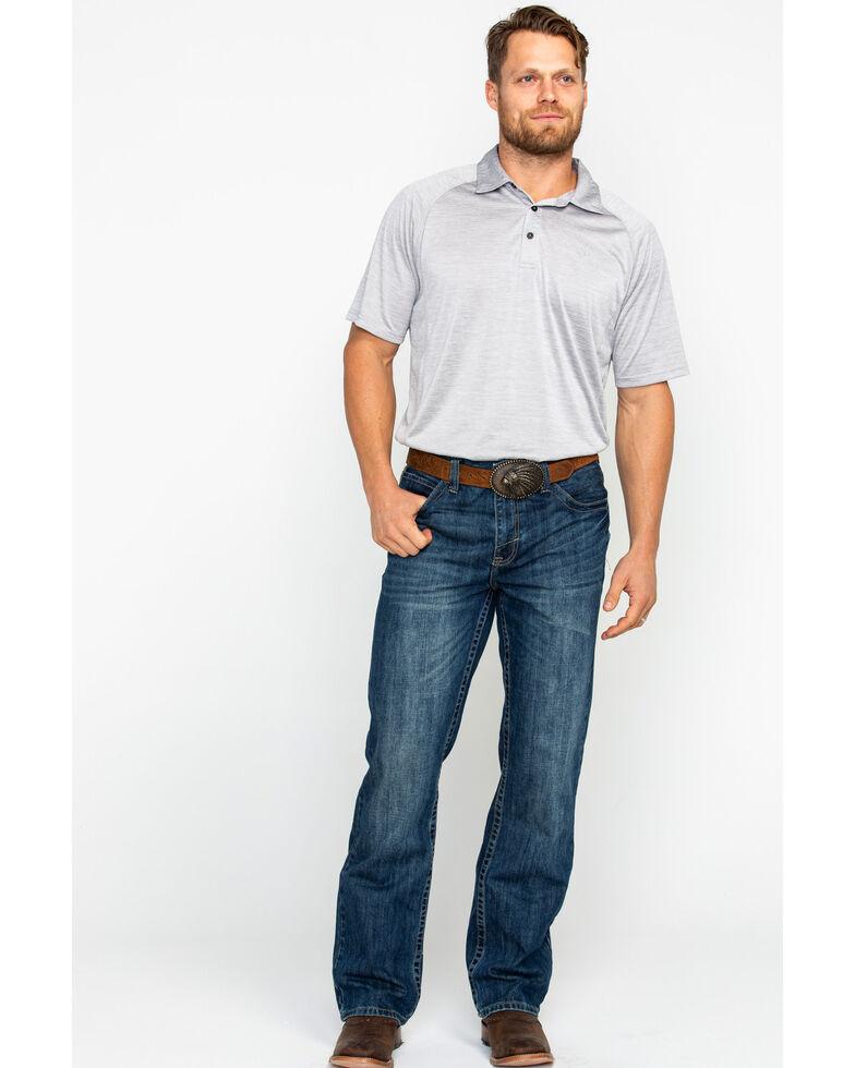 Ariat Men's TEK Silver Lining Charger Short Sleeve Polo Shirt , Grey, hi-res