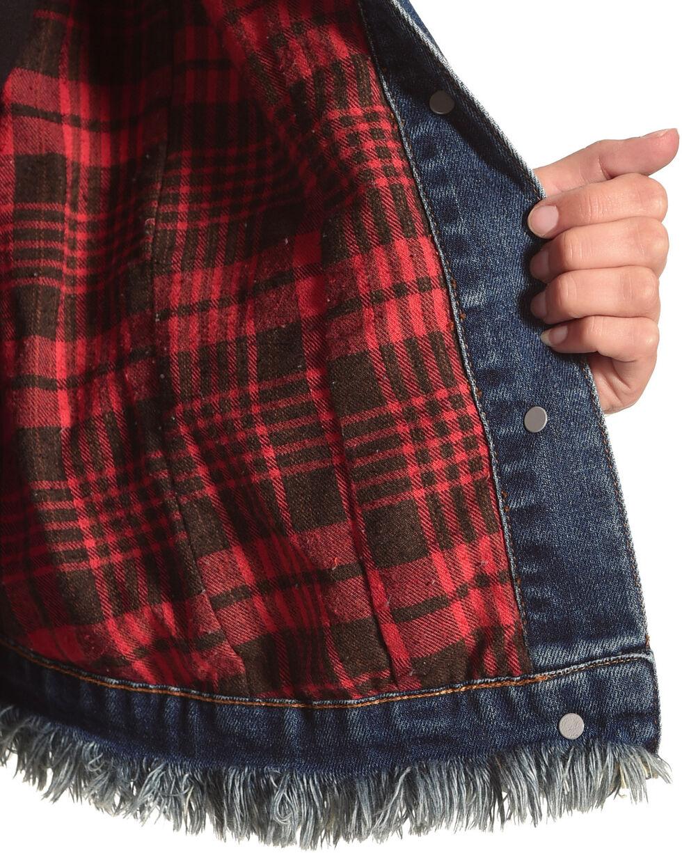 Tractr Women's Interchangeable Collar Denim Jacket , Indigo, hi-res