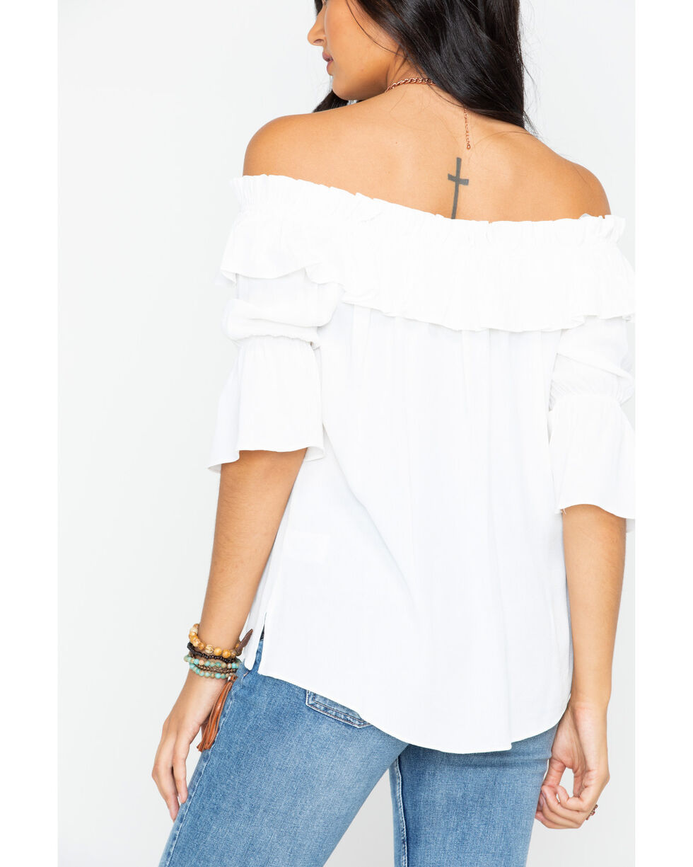 Miss Me Women's Delicate Off-The-Shoulder Top, White, hi-res