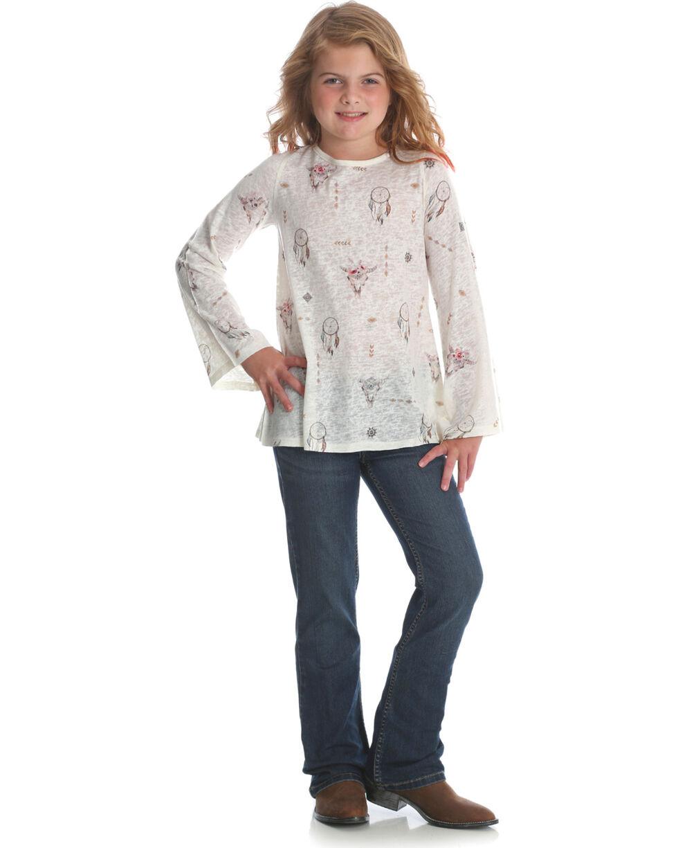 Wrangler Girls' Cream Steerhead Print Boatneck Top , Cream, hi-res