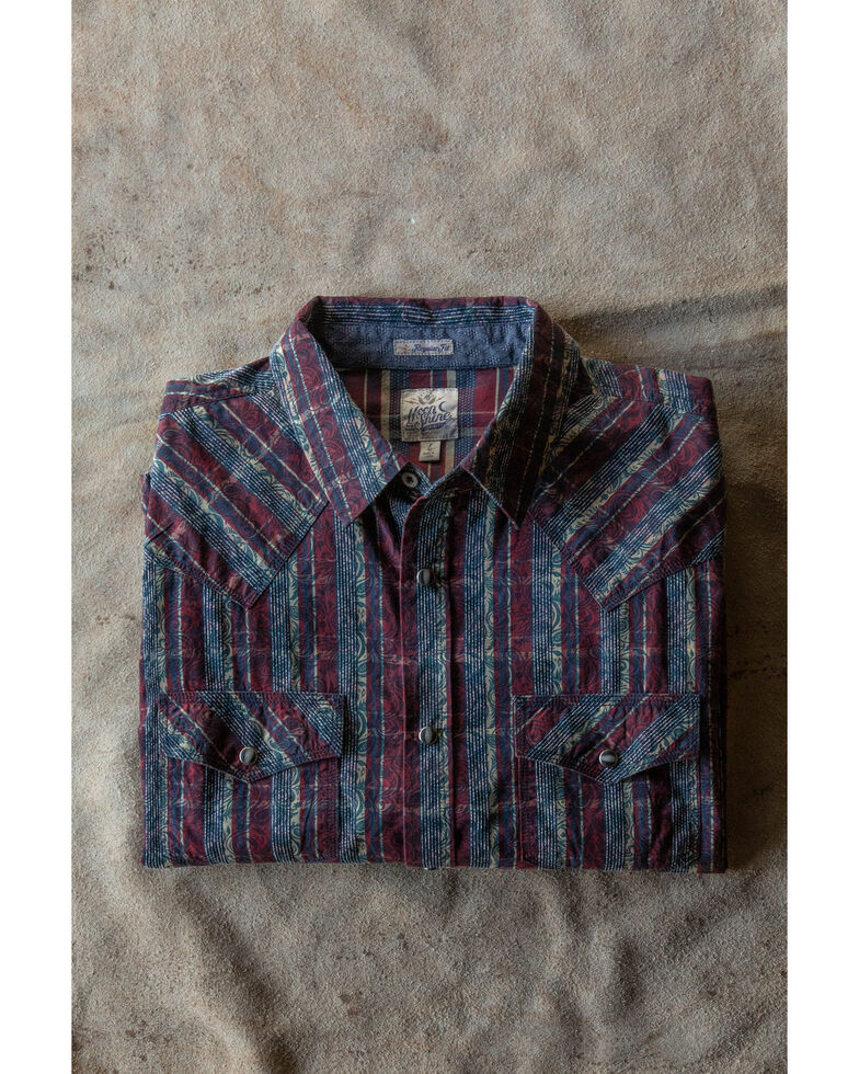 Moonshine Spirit Men's Red Flare Large Plaid Long Sleeve Western Shirt , Maroon, hi-res