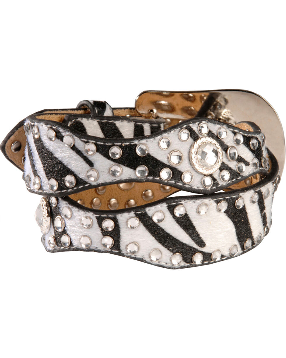 Nocona Kid's Zebra Printed Scalloped Leather Belt, Blk/white, hi-res