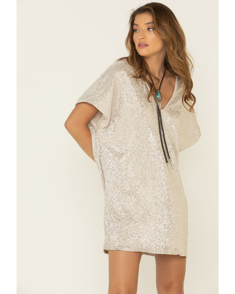 By Together Women's Metallic Dress, Taupe, hi-res