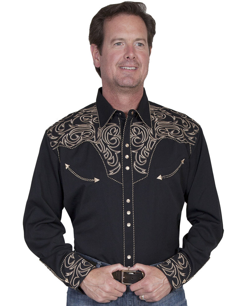 Scully Embroidered Scroll Western Shirt - Big Sizes (3XL and 4XL), Black, hi-res