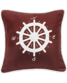 HiEnd Accents Red Compass Embroidery Pillow, Red, hi-res
