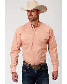 Roper Men's Amarillo Orange Mini Check Plaid Long Sleeve Western Shirt , Orange, hi-res
