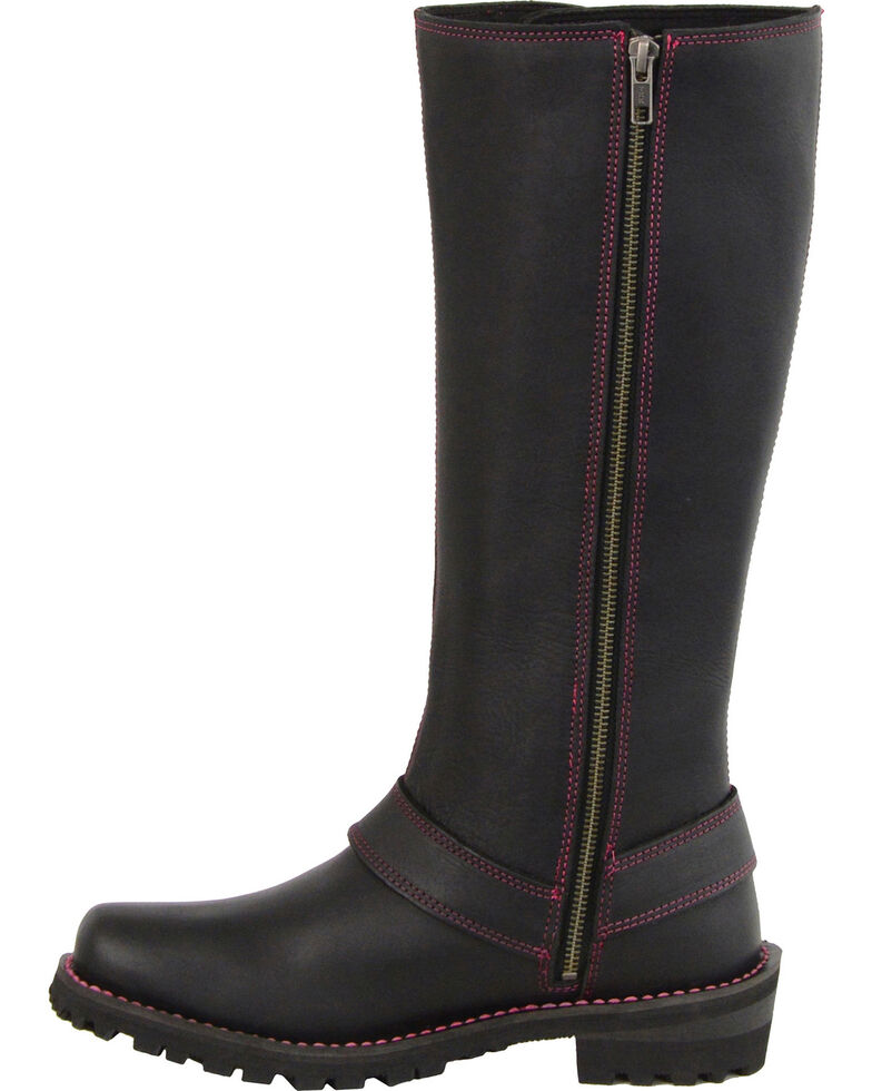 "Milwaukee Leather Women's Black 14"" Fuchsia Accent Lacing Boots - Square Toe , Black, hi-res"