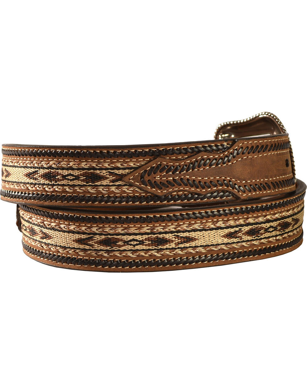 Nocona Aztec Horsehair Inlay Leather Belt, Brown, hi-res