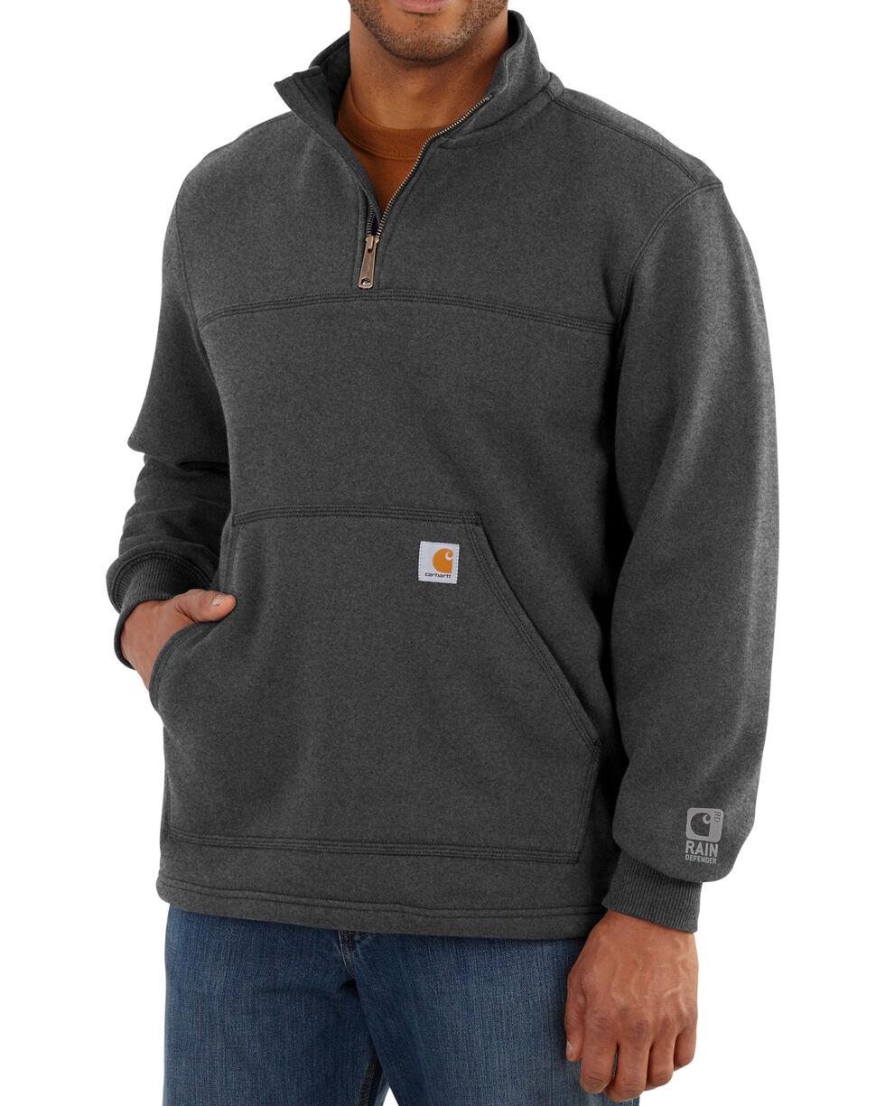 Carhartt Men's Rain Defender Paxton Quarter Zip Sweatshirt, Hthr Grey, hi-res
