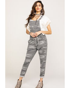 Z Supply Women's Grey Basic Knit Camo Overalls, Grey, hi-res