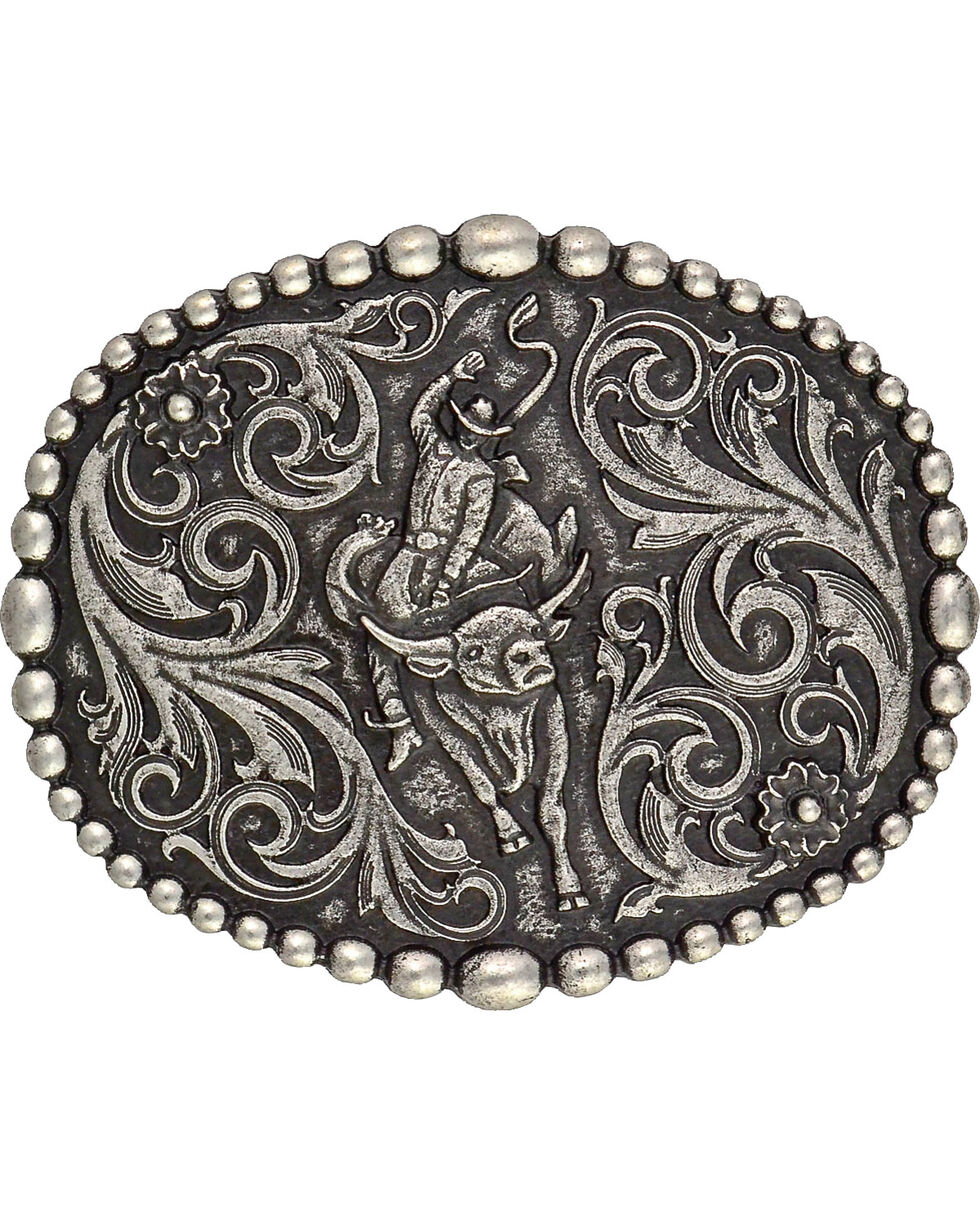 Montana Silversmiths Bullrider Attitude Belt Buckle, Silver, hi-res