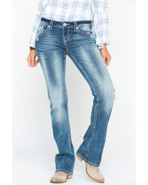 Grace in LA Women's Embroidered Pockets Boot Cut Jeans, Indigo, hi-res