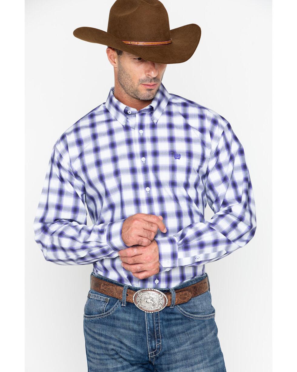 Cinch Men's Match Dad Plaid Long Sleeve Button Down Shirt, Grey, hi-res