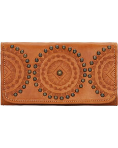 American West Women's Kachina Spirit Tri-Fold Wallet, Tan, hi-res