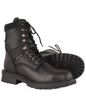 "Milwaukee Leather Men's 7"" Waterproof Leather Boots - Round Toe, Black, hi-res"