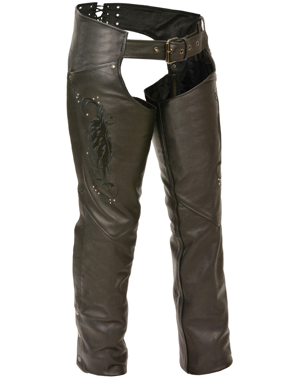 Milwaukee Leather Women's Embroidered Wing & Rivet Leather Chaps - 3X, , hi-res