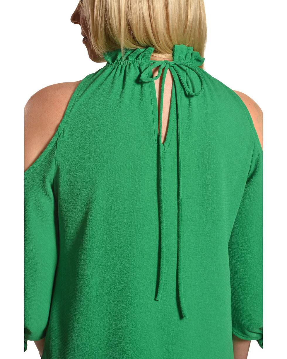 CES FEMME Women's Green Cold Shoulder Ruffle Top , Green, hi-res