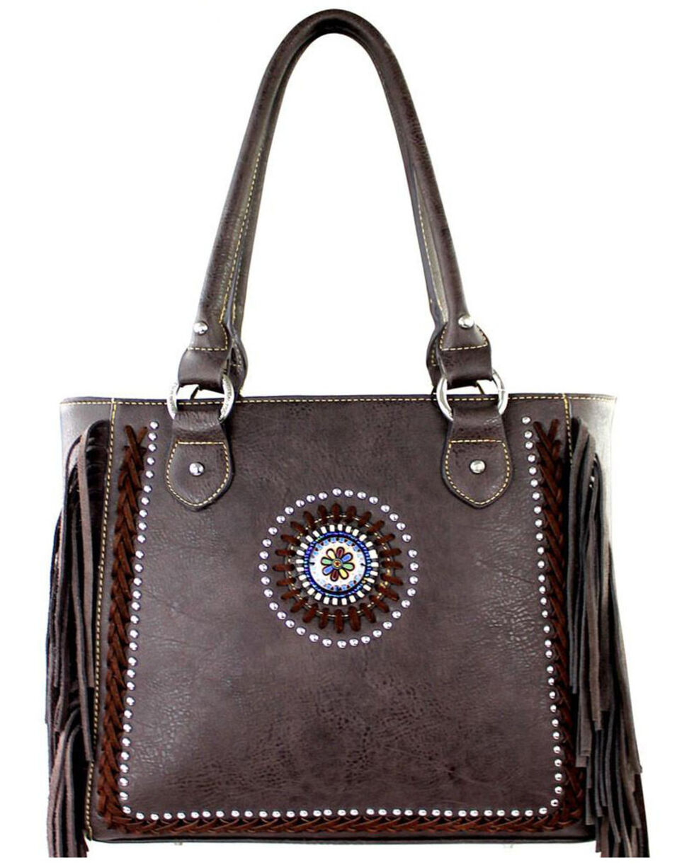 Montana West Black Fringe Collection Braided Lacing Satchel, , hi-res