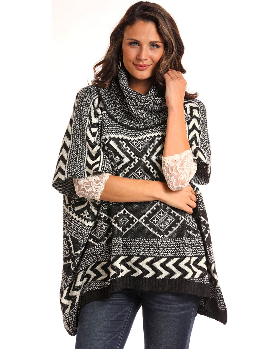 Panhandle Women's Aztec Sweater Knit Cowl Neck Poncho, Black, hi-res