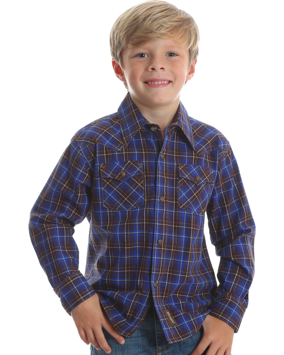 Wrangler Boys' Retro Brown Long Sleeve Plaid Shirt , Brown, hi-res