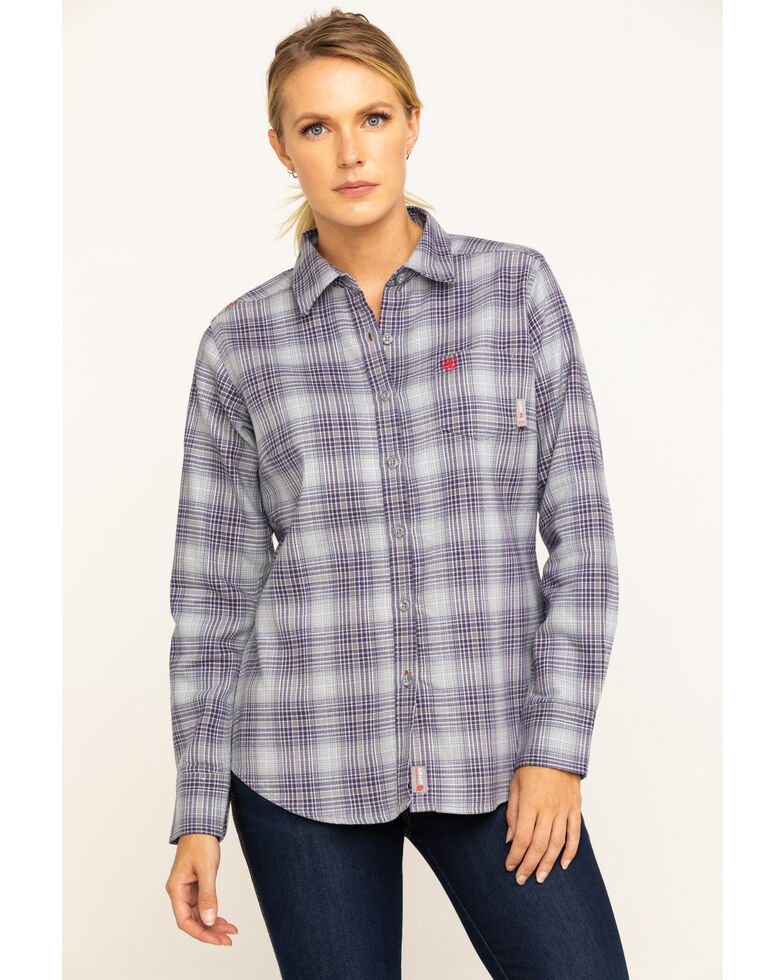 Ariat Women's FR Purple Abigail Plaid Long Sleeve Work Shirt , Purple, hi-res