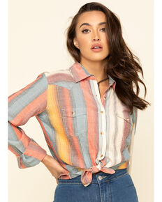White Label by Panhandle Women's Serape Stripe Long Sleeve Western Shirt , Blue, hi-res